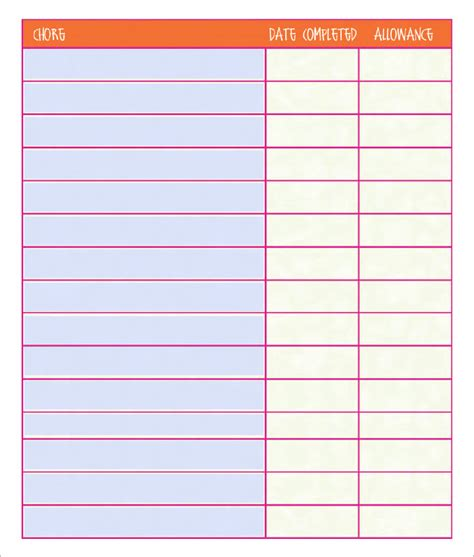 Chore List Template Free Printable Blank Chore Chart Template Printable 360