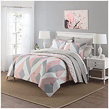 light pink and gray bedding amazon com 3 piece girls light pink grey white geometric