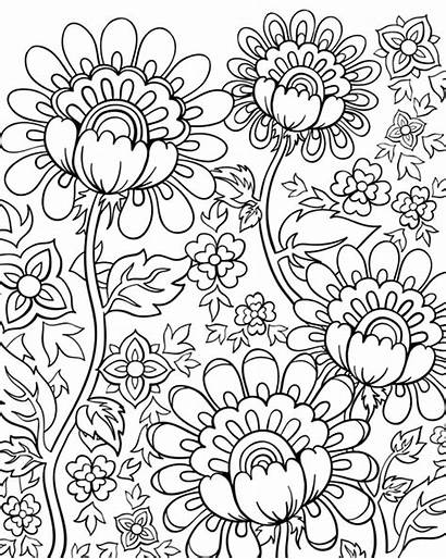 Coloring Doodle Pages Adult Flowers