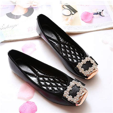 Flats Boats Brands by Square Rhinestone Soft Leather Flats Brand