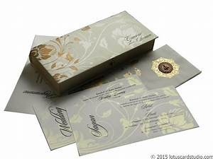 Indian wedding card in royal ivory golden theme box for Wedding box cards india