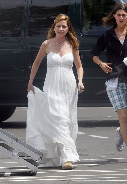 jenna fischer  office wedding dress white spaghetti