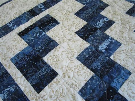 batik quilt  blue patchwork mountain