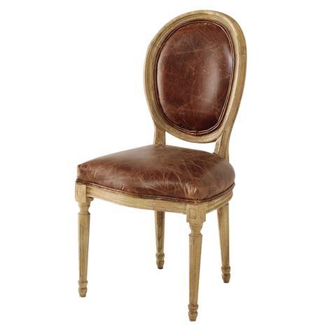 chaise m 233 daillon en cuir et ch 234 ne massif marron louis maisons du monde