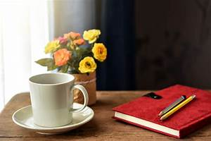 Coffee, Cup, And, Notebook, On, A, Desk, By, The, Windowworking, At, Home, Stock, Photo