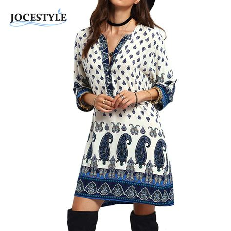 Womens Dress Autumn Long Sleeve Floral Tribal Printed