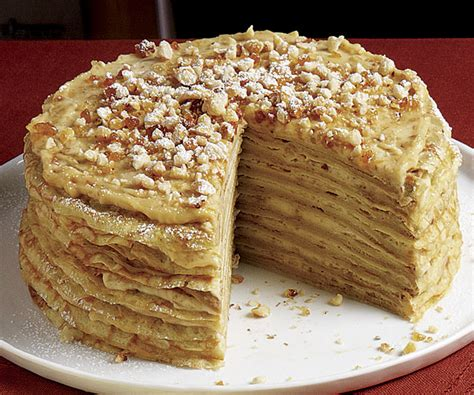 Crêpe Cake With Coffee Cream And Hazelnut Praline