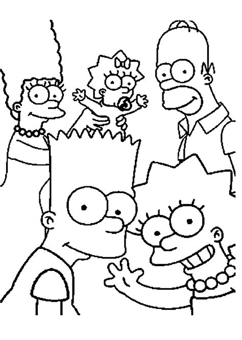 simpsons family coloring pages  kids printable