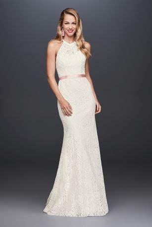 illusion lace halter sheath petite wedding dress davids