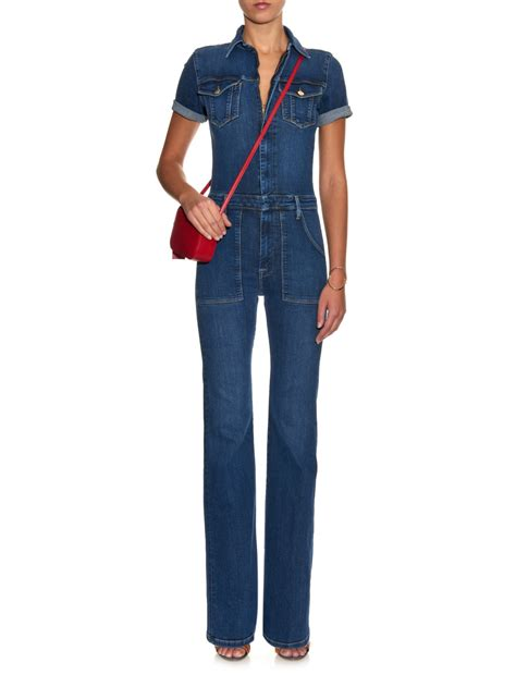 flared jumpsuit lyst frame le mechanic flared jumpsuit in blue