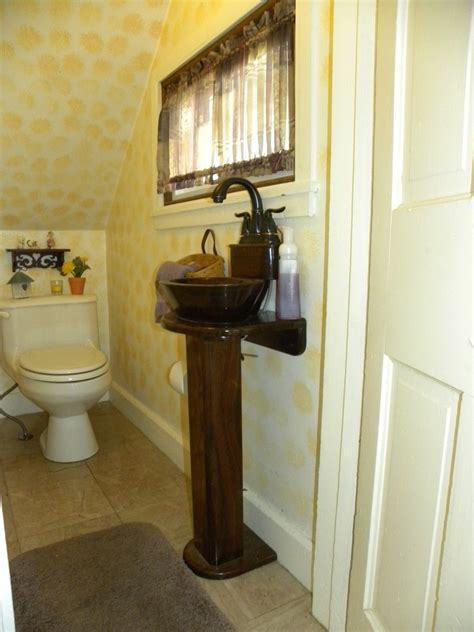 hand crafted solid walnut powder room sink  newshams