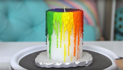 diy rainbow candles    melted crayon candle
