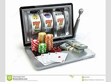 Casino Online Concept, Gambling Laptop Slot Machine With