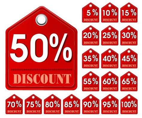 Red discount tags (133013) Free AI, EPS Download / 4 Vector