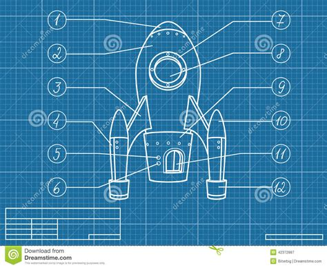 Blueprint With Spaceship Stock Vector