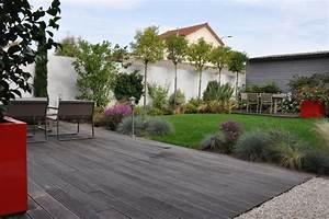 un jardin de ville moderne terrasse en bois et balcon With photo de terrasse moderne