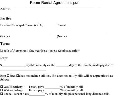 room rental agreement  excel