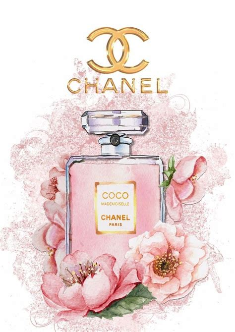 coco chanel mademoiselle print watercolour floral glossy print unframed a4 coco chanel