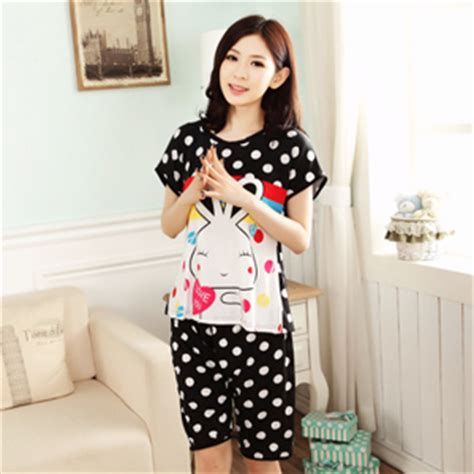 cute rabbit lady pyjamas set short sleeves sleepwear
