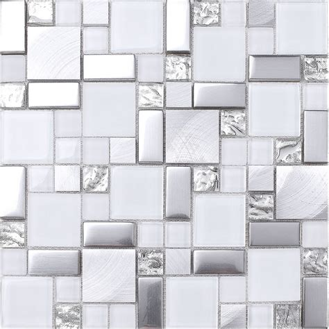 white mosaic tile backsplash white gray metal glass mosaic kitchen backsplash tile
