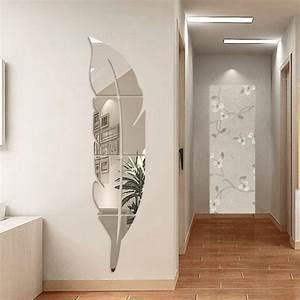 Stickers Effet Miroir : idee deco miroir adhesif avec ynuth stickers miroir effet plume design pour salon chambre salle ~ Teatrodelosmanantiales.com Idées de Décoration