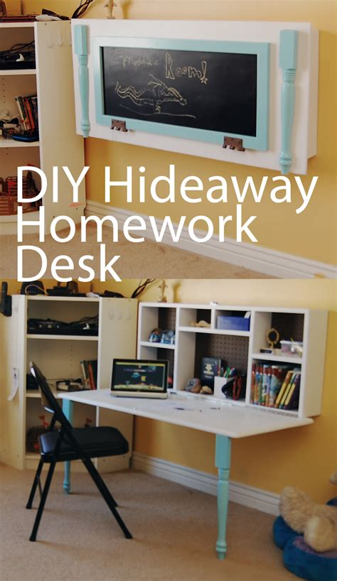 diy kids homework hideaway wall desk  organized mom