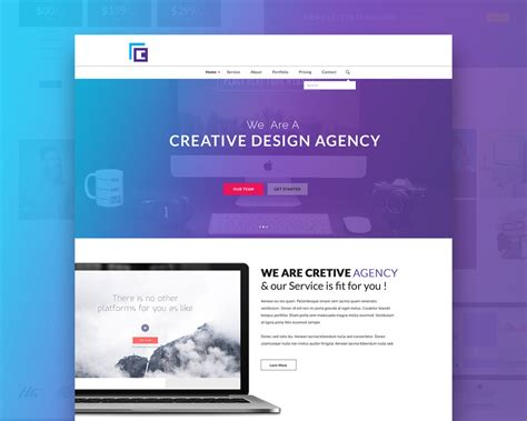creative agency website template free psd download psd