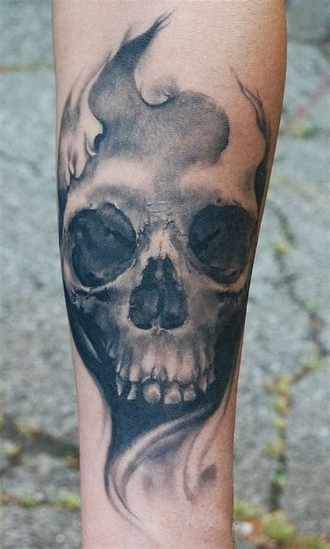 Gloomy Grey Skull Forearm Tattoo  Tattoos Book 65000