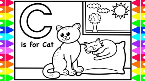 abc coloring pages  kids    cat coloring page