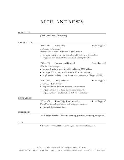 simple resume template sales resume templates free