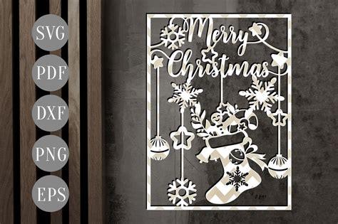merry christmas papercut xmas ornament cut template