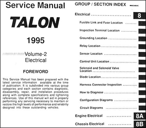 how to download repair manuals 1991 eagle talon electronic toll collection 1995 eagle talon repair shop manual original 2 volume set