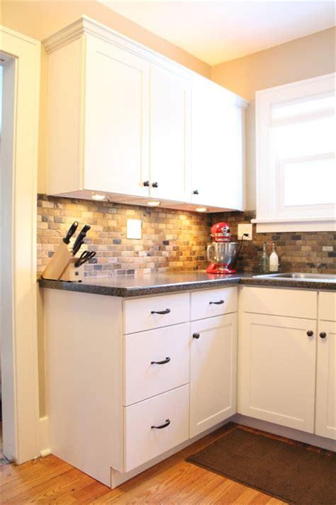 Small Tile Backsplash In Kitchen Small Kitchen Remodel Featuring Slate Tile Backsplash Remodelaholic