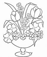 Coloring Vase Flowers Pages Flower Printable Popular sketch template