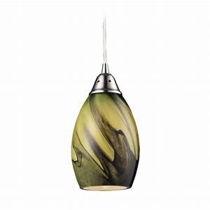 Modern mini pendant light with green glass pln