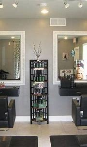 I love the grey and lighting. Mirrors and shelf unit is ...