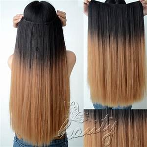 TWO Tone Ombre DIP DYE Clip IN Hair Extensions Dark Brown ...