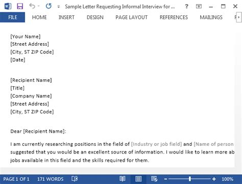 sample letter requesting informal interview  word