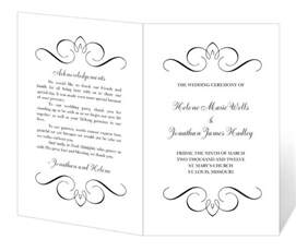 bi fold wedding program wedding program template printable instant