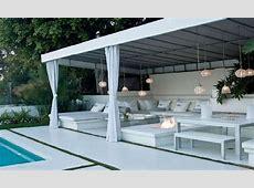 Outdoor hanging chairs, backyard pool cabanas swimming