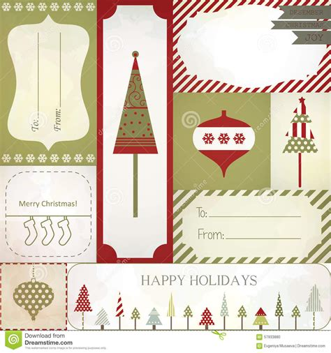 christmas gift tags labels  stickers stock vector