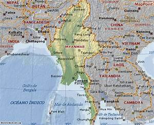 Mapa geográfico de Birmania Myanmar