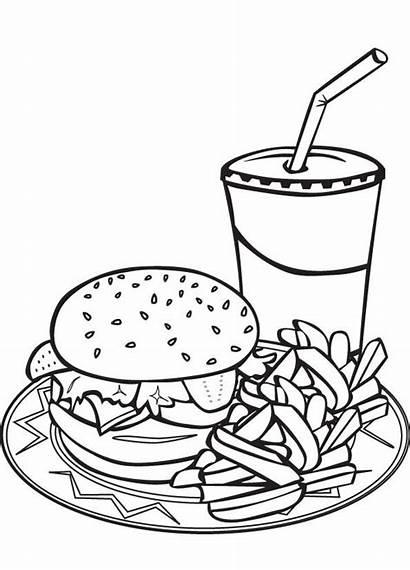 Coloring Fries Pages Burger Drawing Hamburger Milkshake