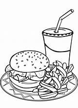 Coloring Pages Fries Burger Drawing Hamburger Clipart Milkshake Sheets French Shake Sheet Fry Milkshakes Chips Junk Burgers Colouring Printable Drink sketch template