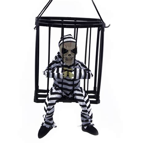 Motion Sensor Decorations by Hanging Skeleton Caged Prisoner Decoration