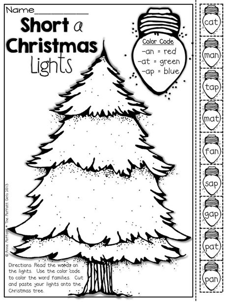 color the christmas light by word family paste them onto