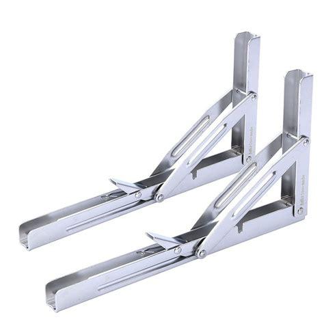 folding shelf bracket 2x heavy duty polished stainless folding shelf bench table