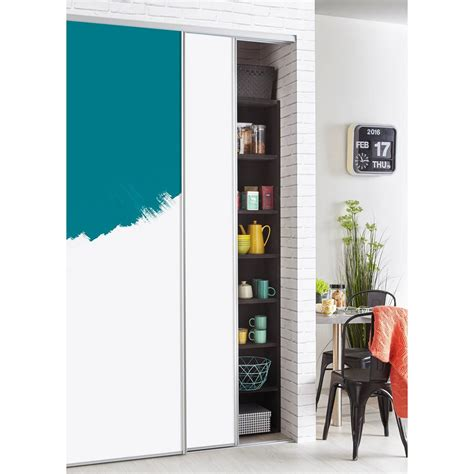 porte de placard coulissante a peindre ou à tapisser spaceo h 250 x l 150 cm leroy merlin