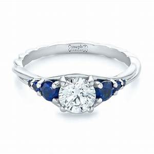 custom diamond and blue sapphire engagement ring 102336 With sapphire and diamond wedding ring