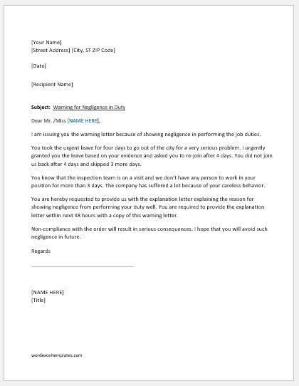Warning Letter for Negligence in Duty | Word & Excel Templates